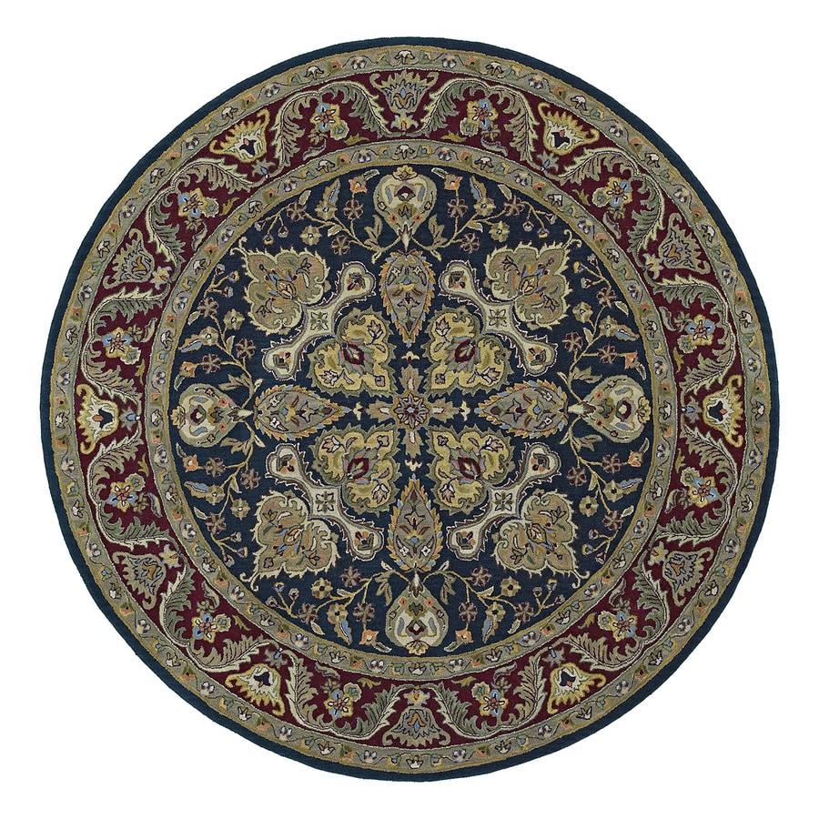 Kaleen Tara Navy Round Indoor Tufted Oriental Area Rug (Common: 10 x 10; Actual: 9.75-ft Dia)