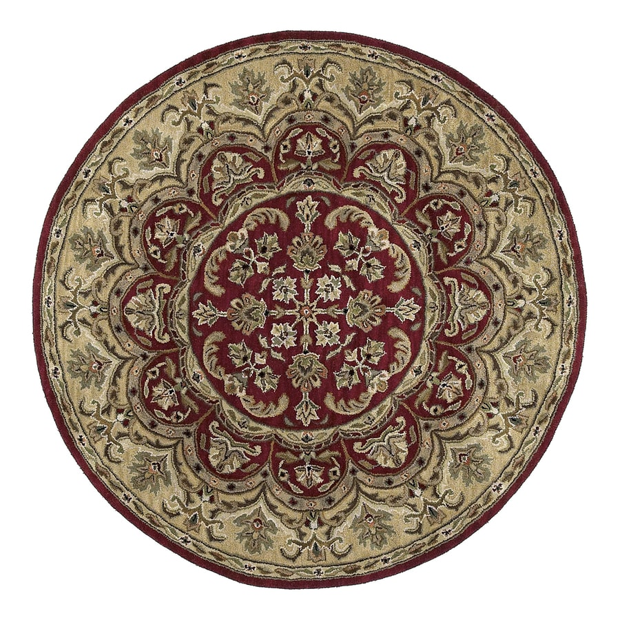 Kaleen Tara Burgundy Round Indoor Hand-Knotted Oriental Area Rug (Common: 4 x 4; Actual: 3.75-ft Dia)