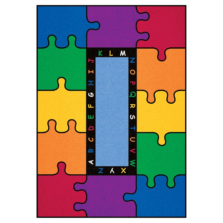 Learning Carpets Cut Pile Rug Rectangular Multicolor Educational Area Rug (Actual: 8-ft 3-in x 13-ft 4-in)