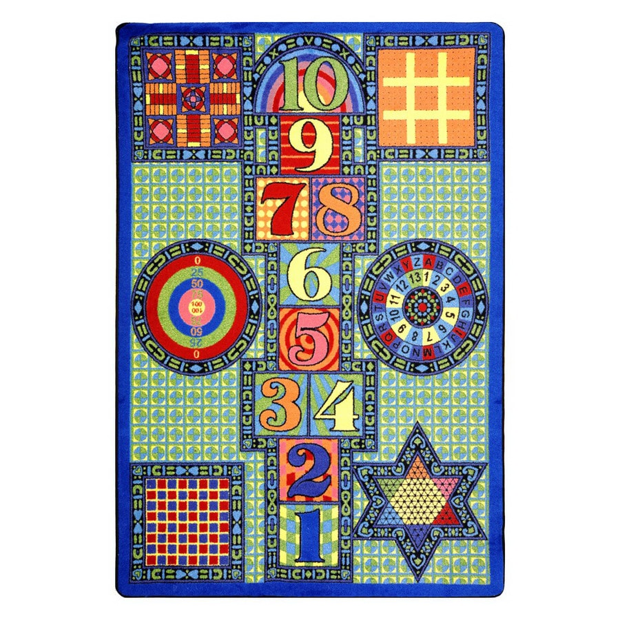 Joy Carpets Joy Games 18-ft x 10-ft Rectangular Multicolor Geometric Area Rug