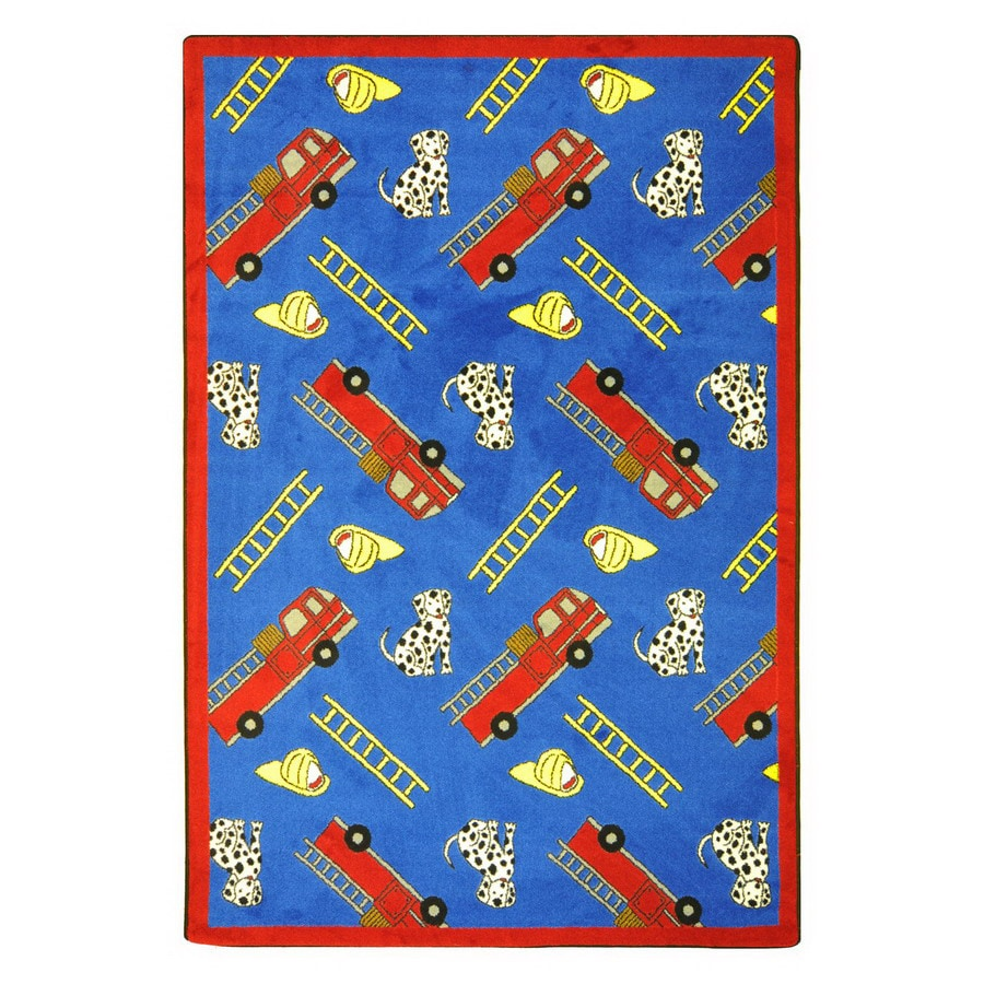 Joy Carpets Hook and Ladder 92-in x 64-in Rectangular Multicolor Holiday Indoor Use Only Area Rug