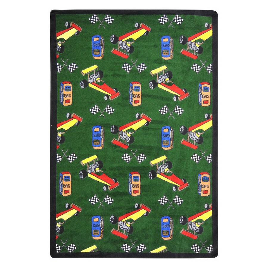 Joy Carpets Pit Stop 92-in x 64-in Rectangular Multicolor Sports Indoor Use Only Area Rug