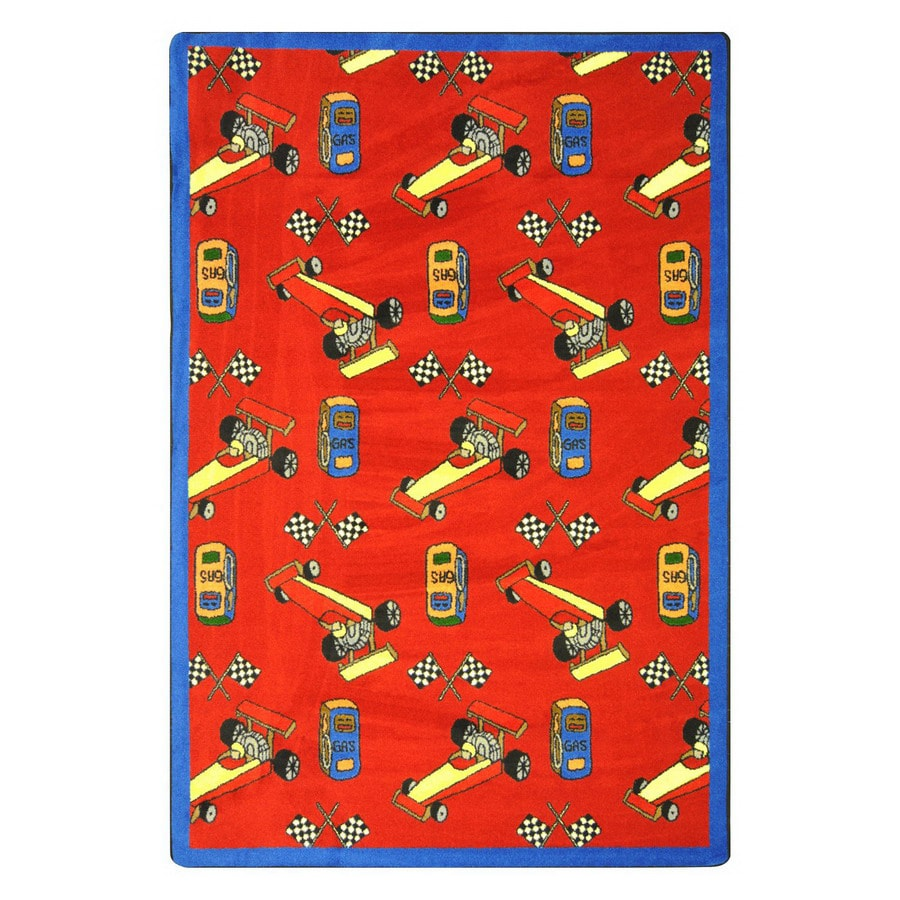Joy Carpets Pit Stop 129-in x 92-in Rectangular Multicolor Holiday Indoor Use Only Area Rug