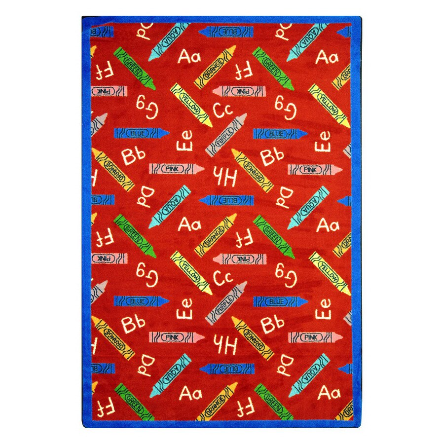Joy Carpets Crayons 5-ft 4-in x 3-ft 10-in Rectangular Multicolor Educational Area Rug
