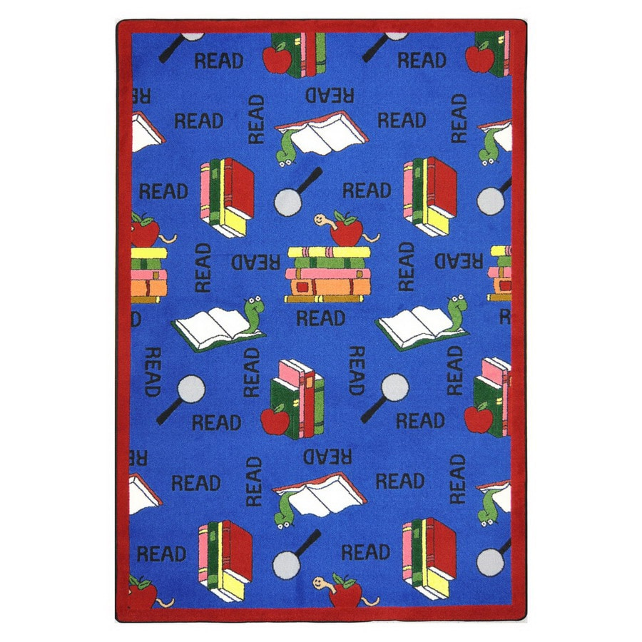 Joy Carpets Bookworm 7-ft 8-in x 5-ft 4-in Rectangular Multicolor Educational Area Rug