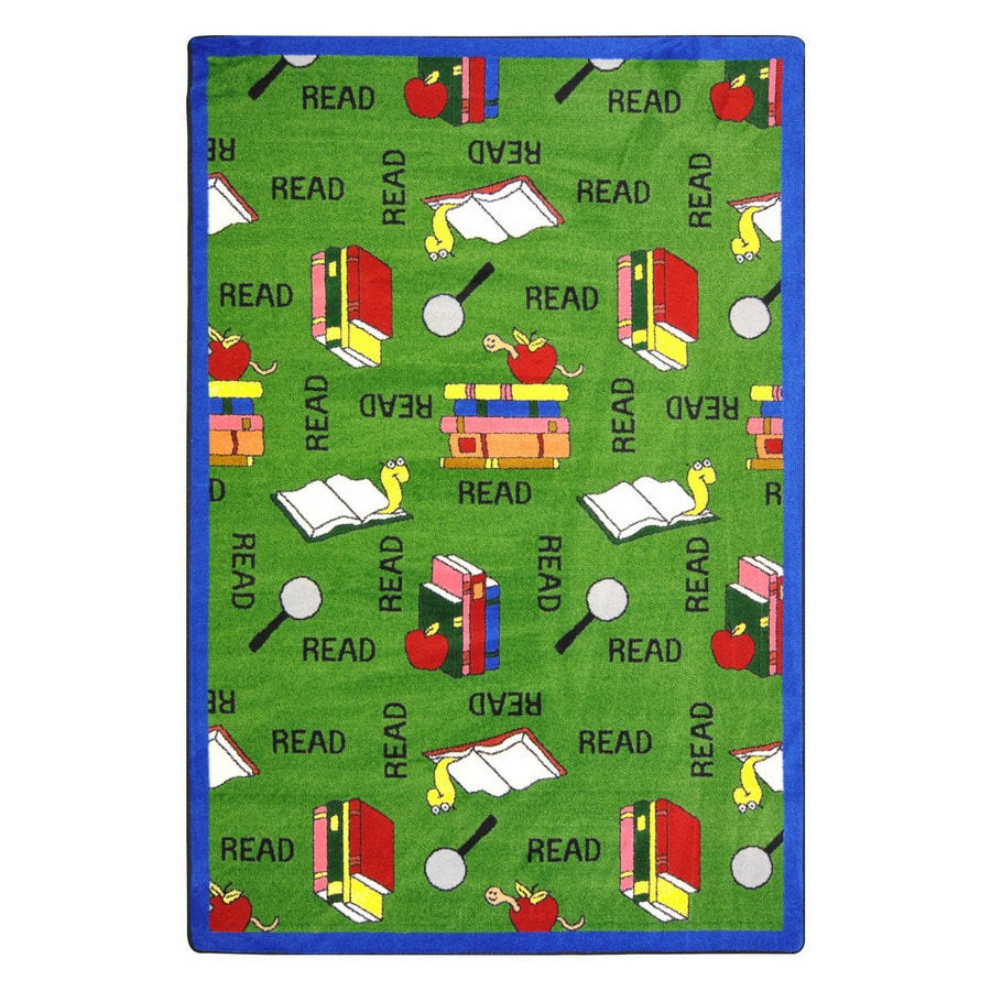 Joy Carpets Bookworm 10-ft 9-in x 4-ft 8-in Rectangular Multicolor Educational Area Rug