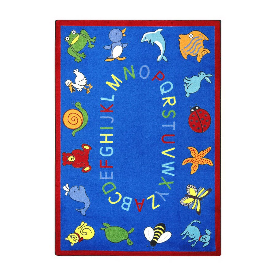 Joy Carpets Abc Animals 7-ft 8-in x 5-ft 4-in Rectangular Multicolor Educational Area Rug
