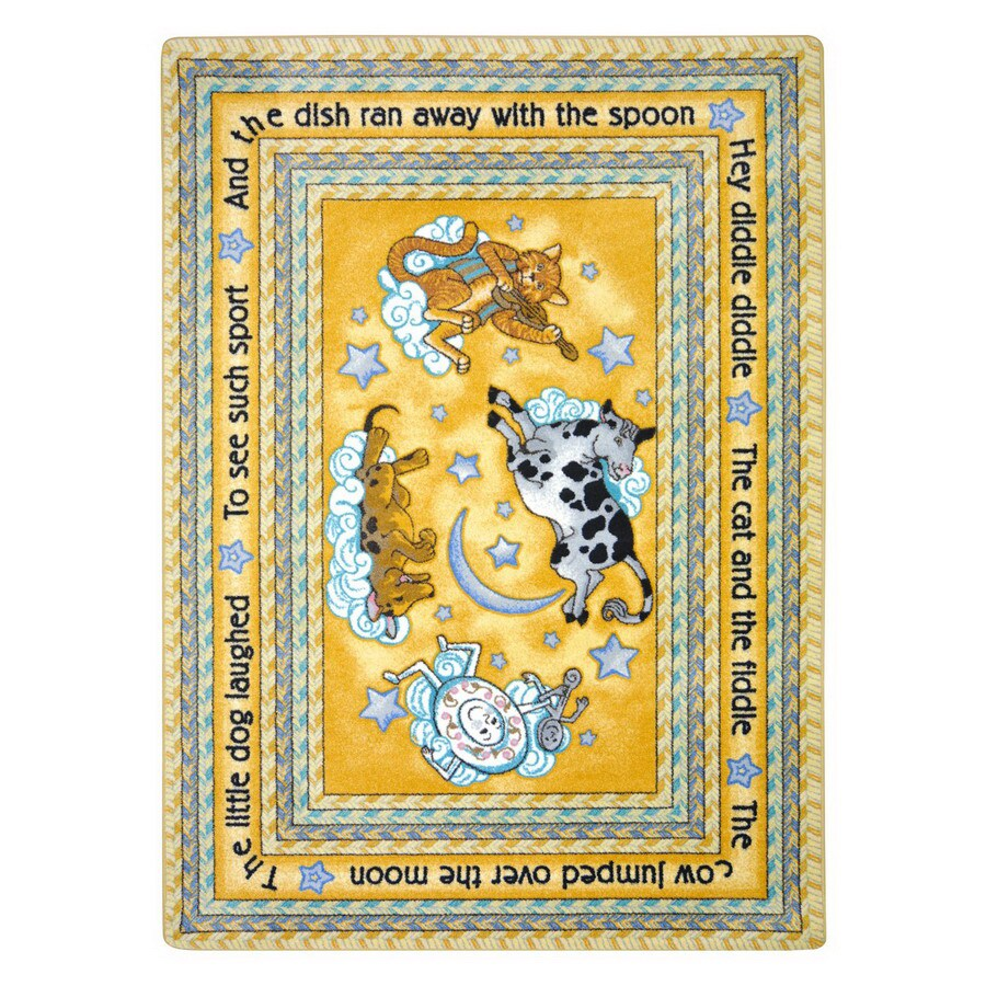 Joy Carpets Hey Diddle Diddle 10-ft 9-in x 4-ft 8-in Rectangular Multicolor Educational Area Rug
