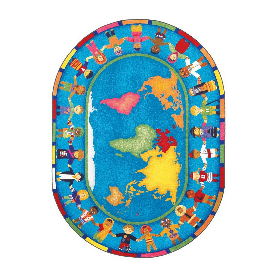 Joy Carpets Hands Around The World 7-ft 8-in x 5-ft 4-in Oval Multicolor Educational Area Rug