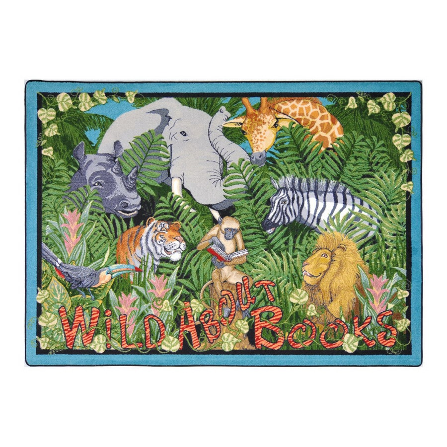 Joy Carpets Wild About Books Rectangular Indoor Tufted Animals Area Rug (Common: 5 x 8; Actual: 64-in W x 92-in L)