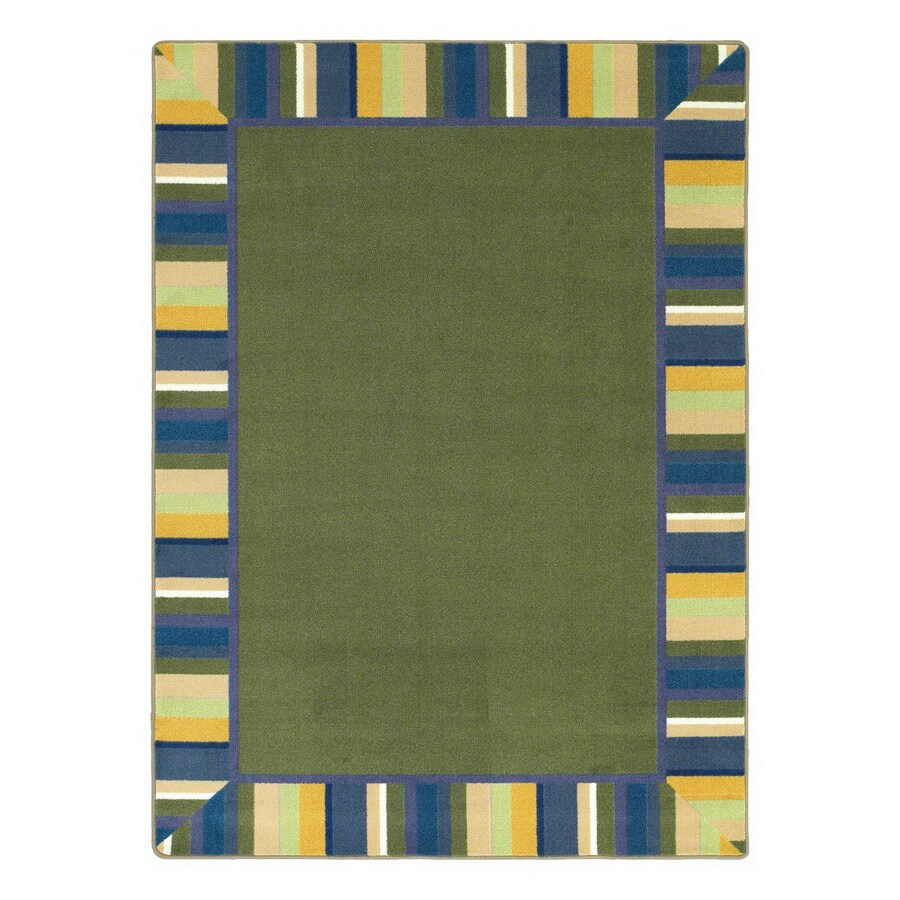 Joy Carpets Clean Green 5-ft 4-in x 5-ft 4-in Round Multicolor Border Area Rug
