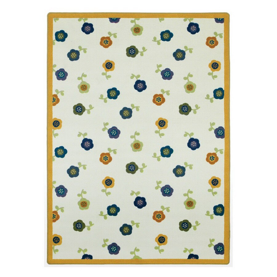 Joy Carpets Awesome Blossom 5-ft 4-in x 5-ft 4-in Round Multicolor Floral Area Rug