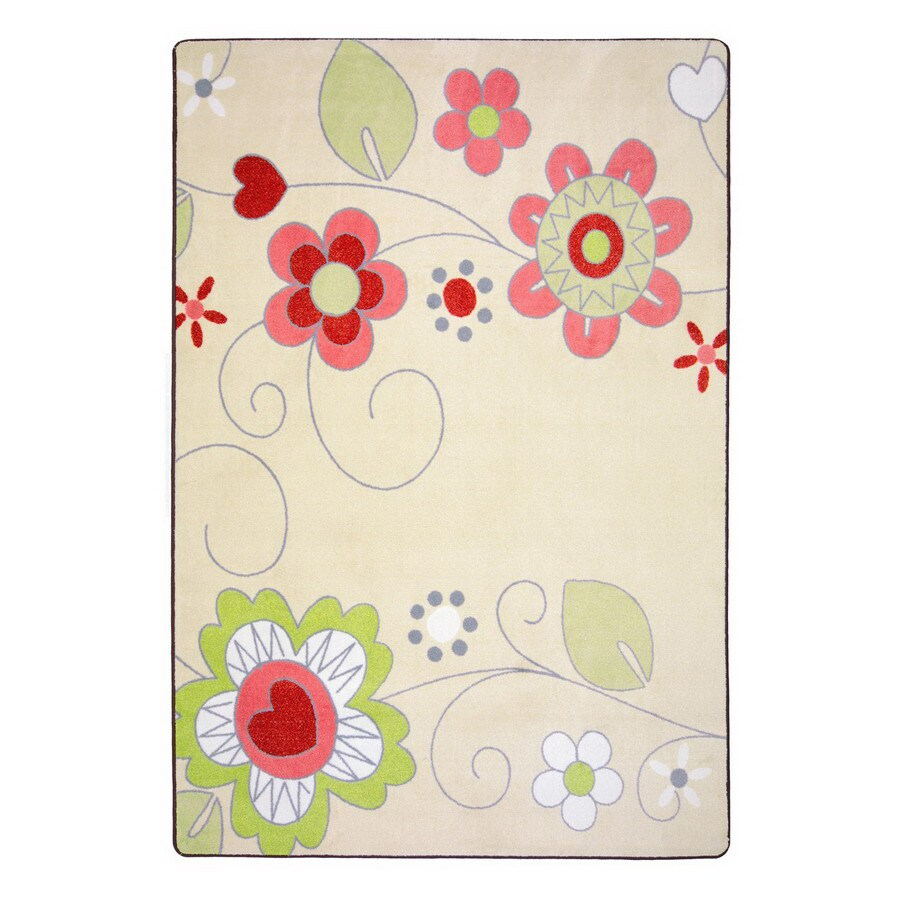 Joy Carpets Pretty Posies Rectangular Indoor Tufted Nature Area Rug (Common: 8 x 11; Actual: 92-in W x 129-in L)