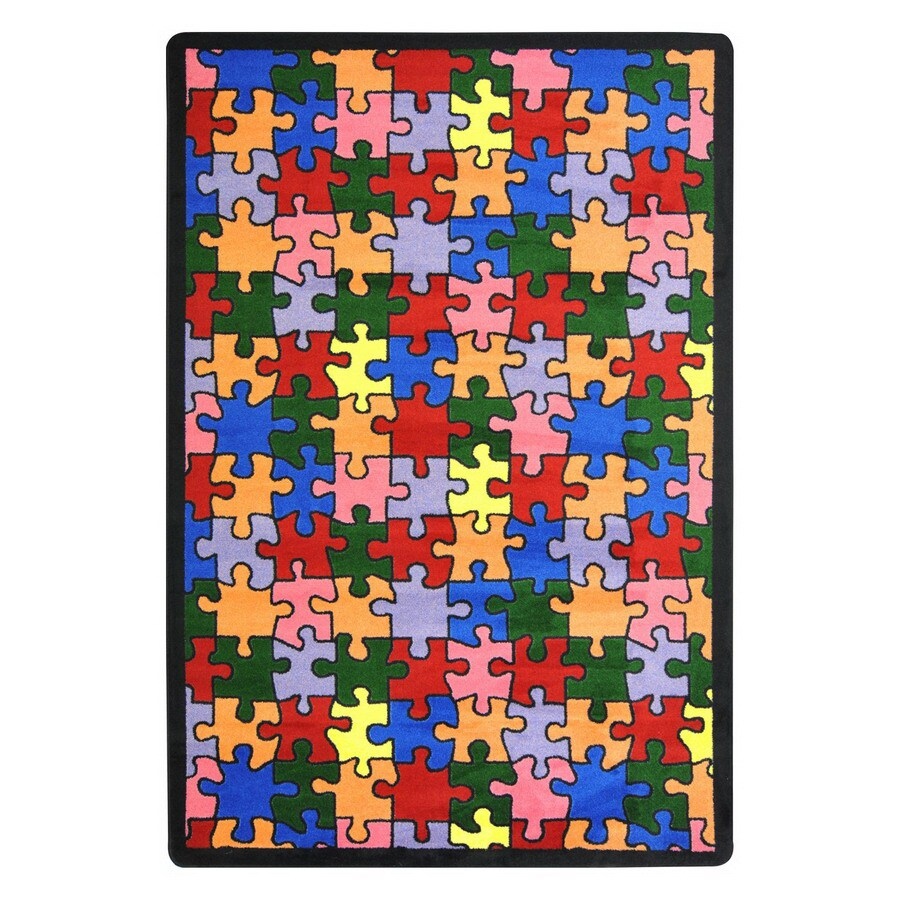 Joy Carpets Puzzled 7-ft 8-in x 5-ft 4-in Rectangular Multicolor Geometric Area Rug