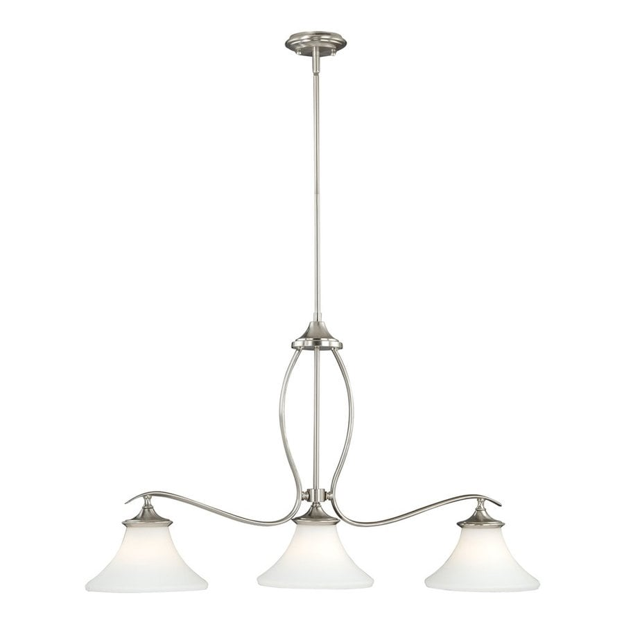 Cascadia Lighting Sonora 36-in W 3-Light Satin Nickel Kitchen Island Light with Frosted Shade