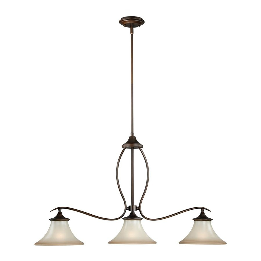 Cascadia Lighting Sonora 36-in W 3-Light Venetian Bronze Kitchen Island Light with Tinted Shade