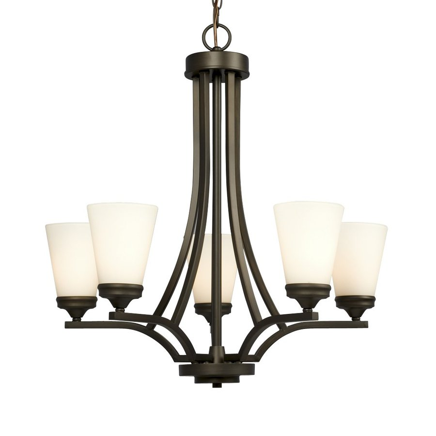 Galaxy Franklin 24-in 5-Light Bronze Shaded Chandelier