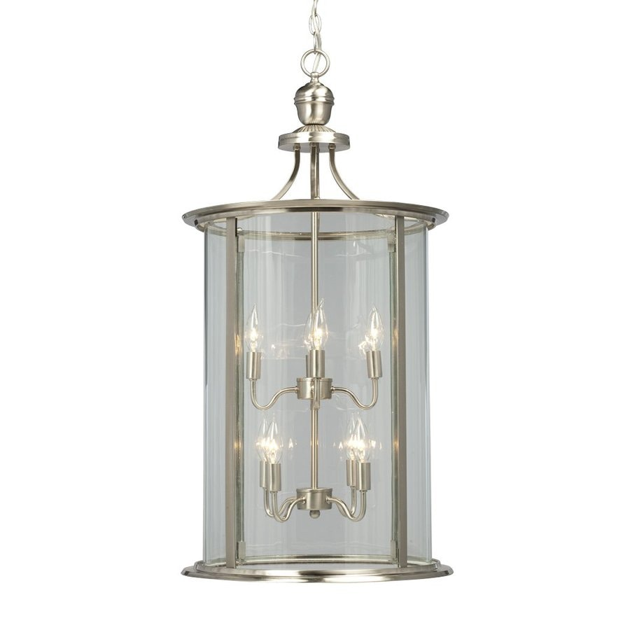 Galaxy Huntington 18-in Brushed Nickel Vintage Single Clear Glass Lantern Pendant