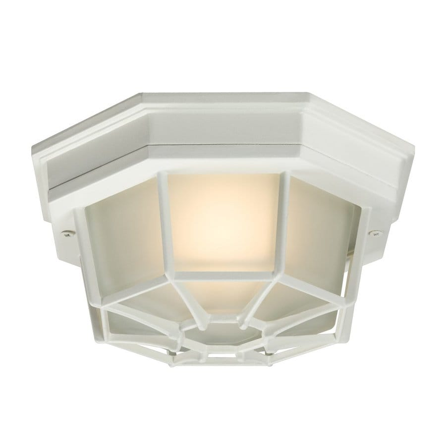 Galaxy 9.05-in W Textured White Outdoor Flush Mount Light