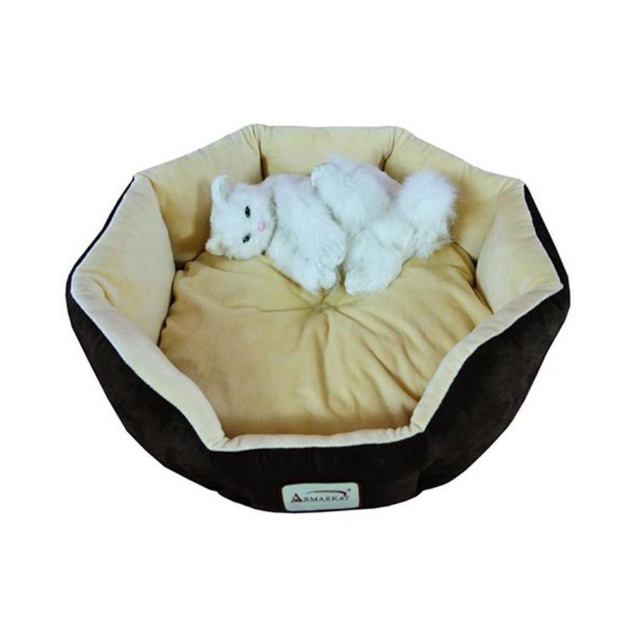 Armarkat Mocha/Beige Faux Suede and Soft Velvet Round Cat Bed