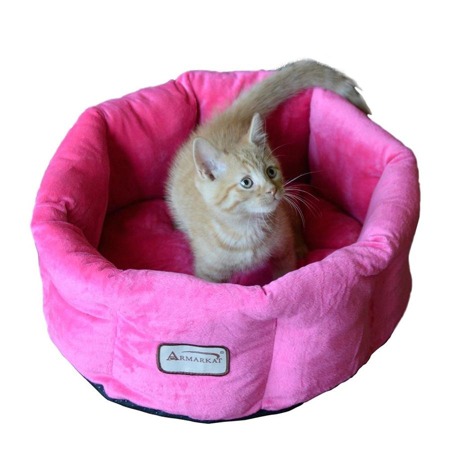 Armarkat Pink Soft Velvet Round Cat Bed