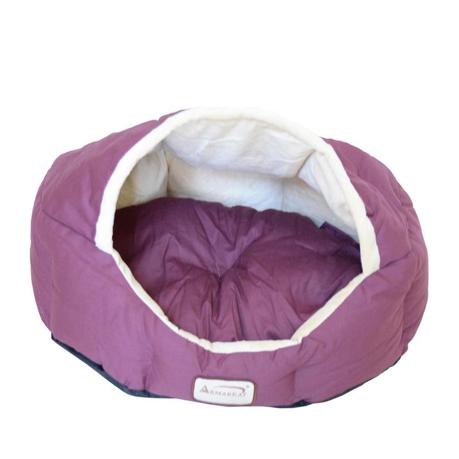 Armarkat Burgundy/Beige Canvas and Soft Velvet Cat Bed
