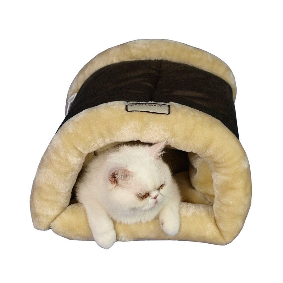 Armarkat Mocha/Beige Faux Suede and Faux Fur Cat Bed