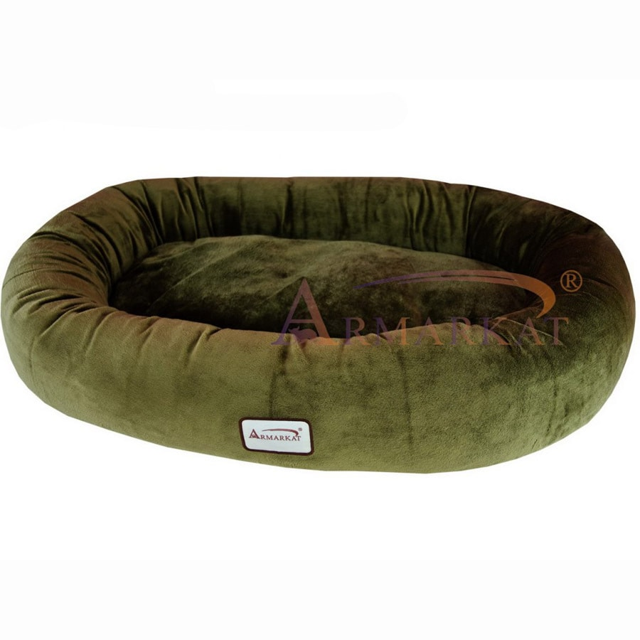 Armarkat Sage Green Soft Velvet Oval Dog Bed