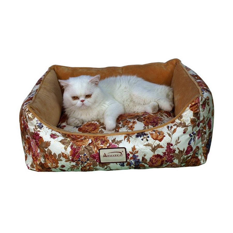 Armarkat Rose/Sandy Brown Soft Velvet Rectangular Dog Bed