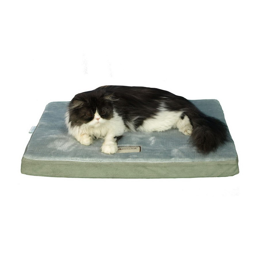 Armarkat Sage Green/Grey Faux Suede and Soft Plush Rectangular Dog Bed