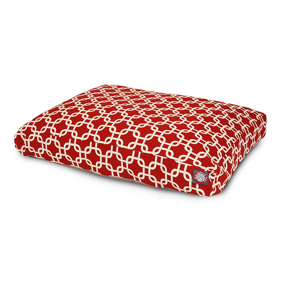 Majestic Pets Red Polyester Rectangular Dog Bed