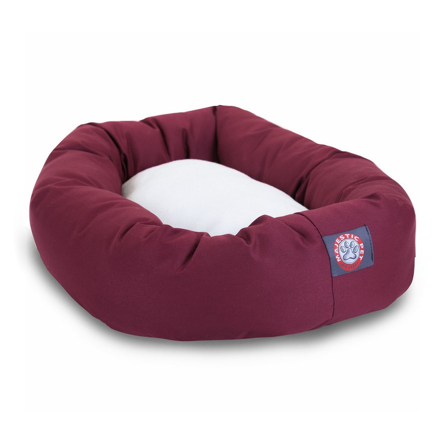 Majestic Pets Burgundy Poly Cotton Twill Oval Dog Bed