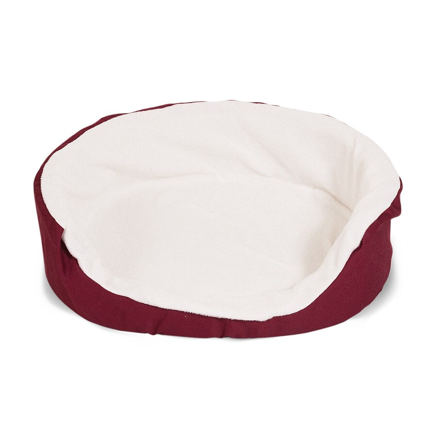 Majestic Pets Burgundy Sherpa and Poly Cotton Twill Oval Dog Bed