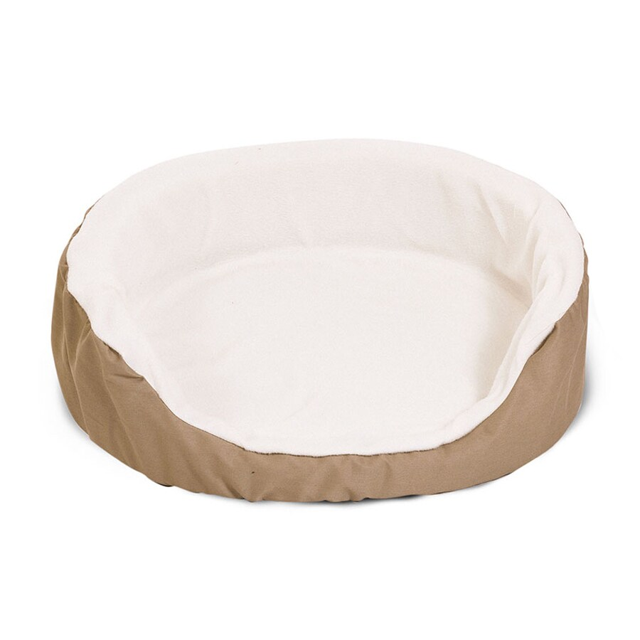 Majestic Pets Khaki Sherpa and Poly Cotton Twill Oval Dog Bed