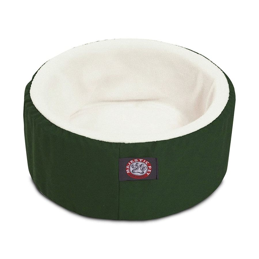 Majestic Pets Green Sherpa and Poly Cotton Twill Round Cat Bed