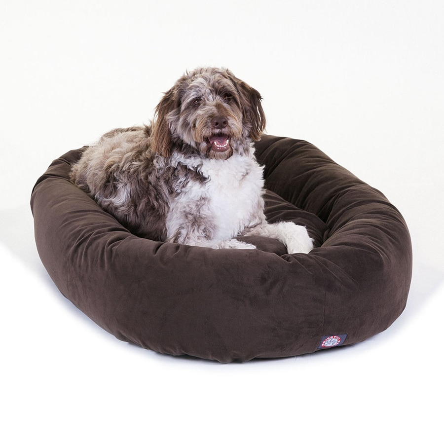 Majestic Pets Chocolate Faux Suede Oval Dog Bed