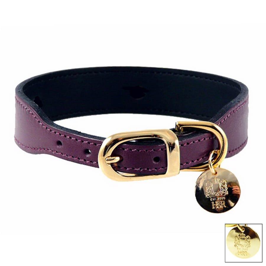 Hartman & Rose Purple Leather Dog Collar