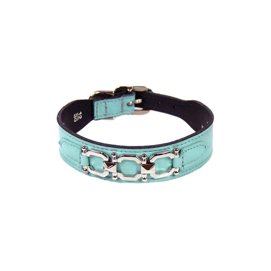 Hartman & Rose Turquoise Leather Dog Collar