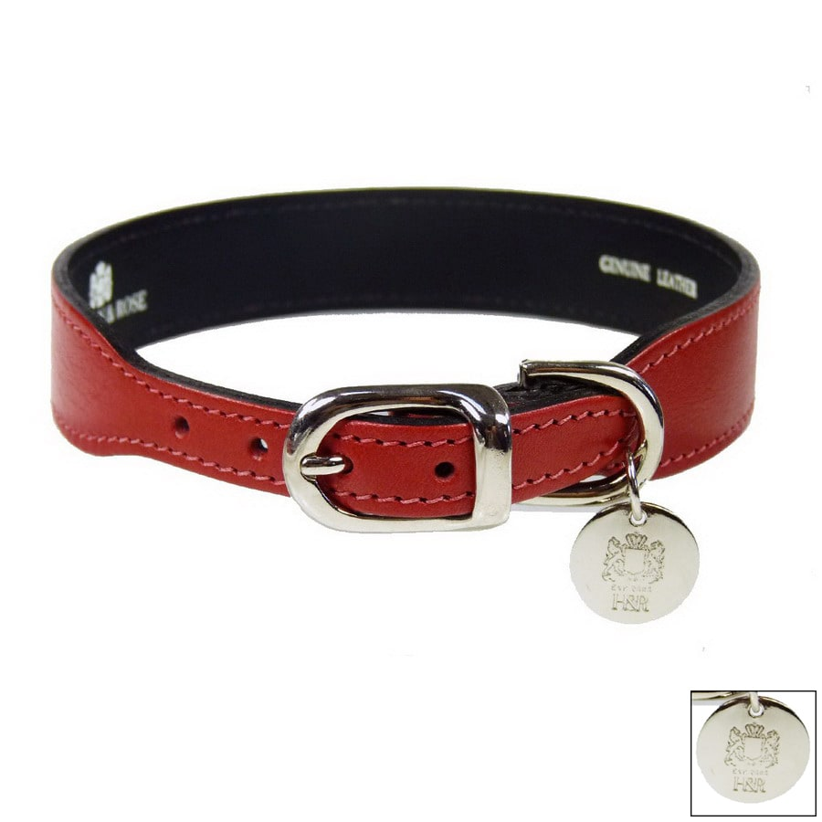 Hartman & Rose Ferrari Red Leather Dog Collar
