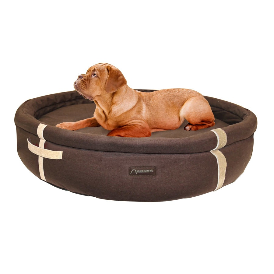 ABO Gear Chocolate Natural Cotton Round Dog Bed
