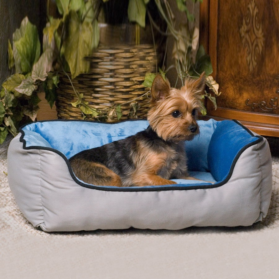 K&H Manufacturing Blue/Gray Microfleece and Polyester/Cotton Rectangular Dog Bed