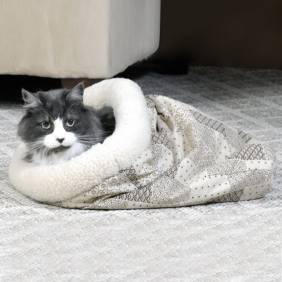 K&H Manufacturing Teal Patchwork Polyester/Cotton and Plush Sherpa Cat Bed