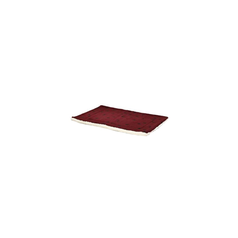 midwest pets Burgundy/White Synthetic Fur and Sheepskin Rectangular Dog Bed