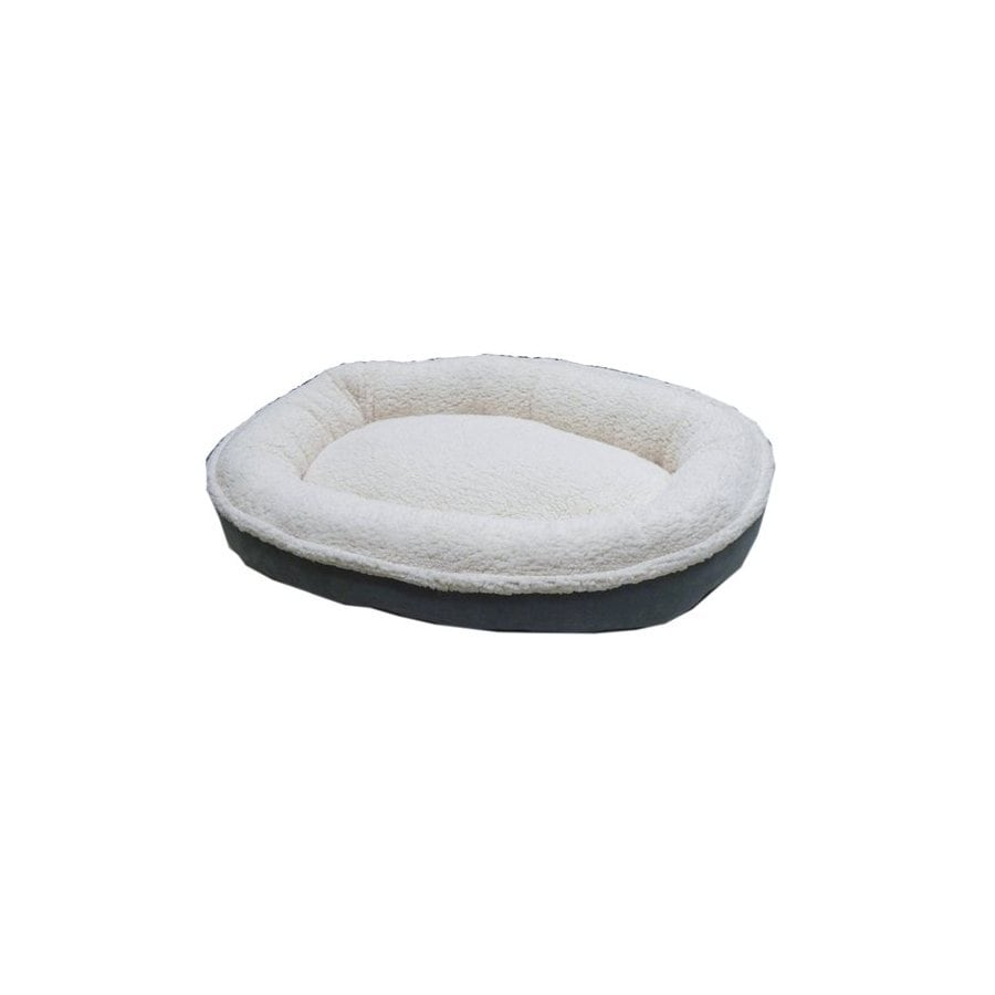 Carolina Pet Company Spa Blue Faux Suede and Cloudy Sherpa Oval Dog Bed