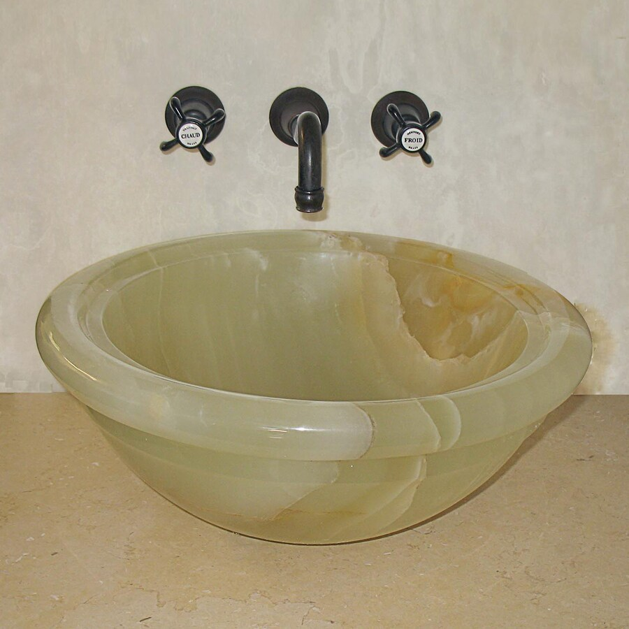 Terra-Acqua Montecito Green Onyx Stone Vessel Round Bathroom Sink