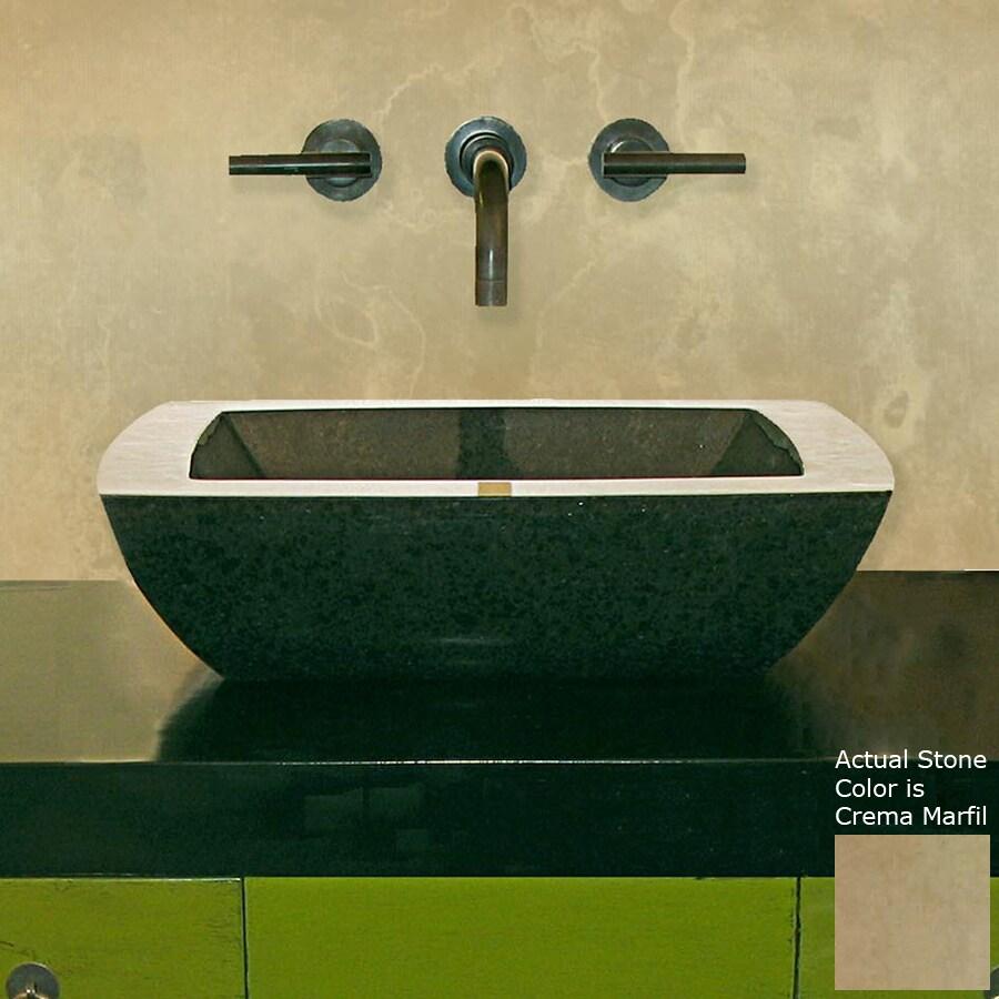 Terra-Acqua Montecito Crema Marfil Stone Vessel Square Bathroom Sink