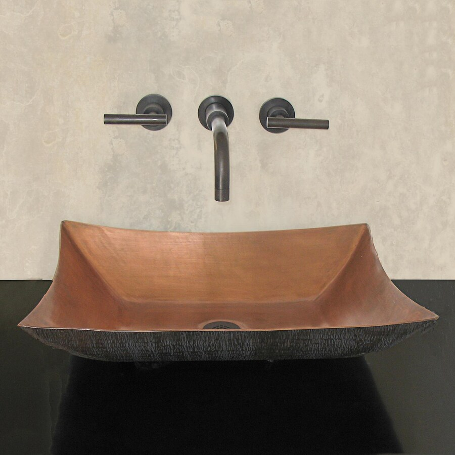 Terra-Acqua Santa Ynez Copper Smooth Weathered Copper Vessel Rectangular Bathroom Sink