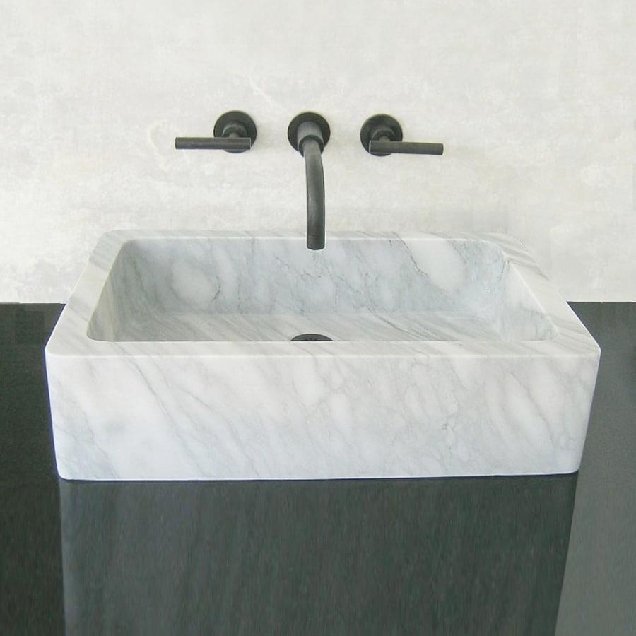 Terra-Acqua Montecito Carrara Marble Vessel Rectangular Bathroom Sink