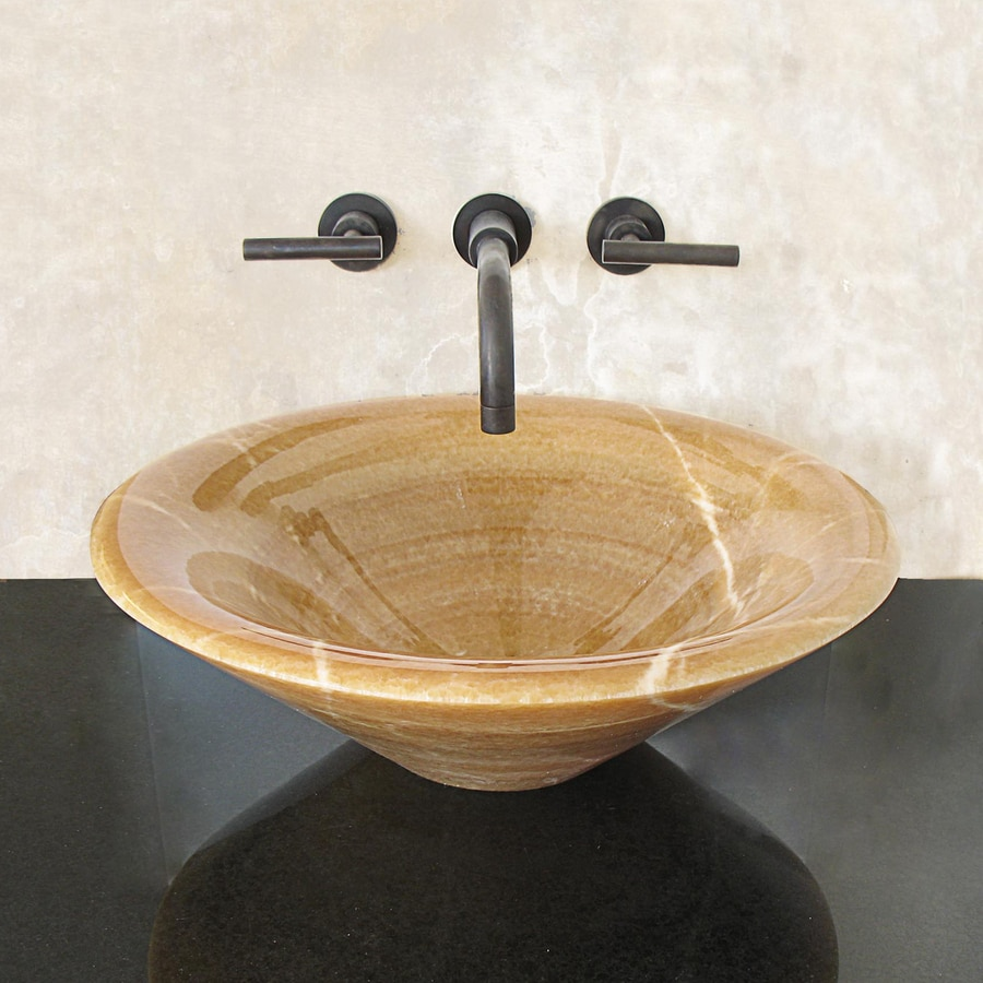 Terra-Acqua Montecito Honey Onyx Stone Vessel Round Bathroom Sink