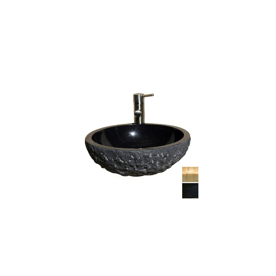 ... Kitchen and Bath Polished Black Natural Stone Round Vessel Sink at